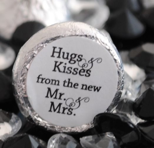 108 Hugs & Kisses from the new Mr. & Mrs. Hershey Kiss Stickers Favors