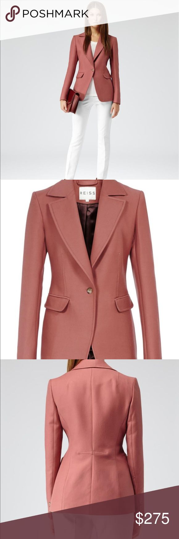 Reiss Beckley Single Breast Fitted Jacket Reiss single-breast fitted jacket. Beckley in berry is a one-button blazer. In a sharp shape, this clean-cut style has a wide collar with notch lapel, exposed dart detail, flap-over pockets to the front and three-button cuffs. Reiss Jackets & Coats Blazers