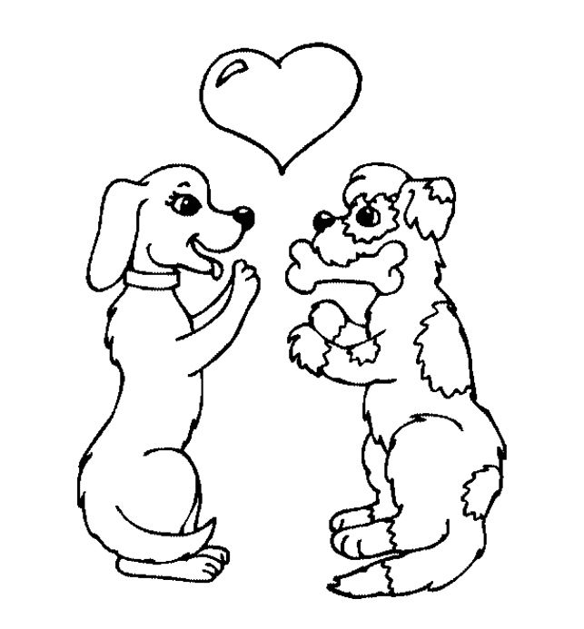 Dog Fall In Love Coloring Page