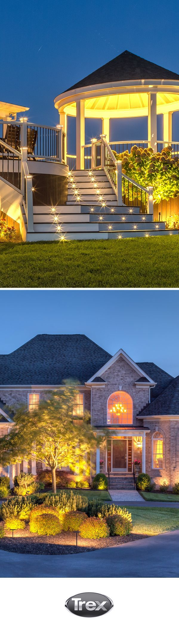#Trex outdoor lighting can brighten up any landscape. Use a dimmer and timer for ultimate lighting control as the sun sets.