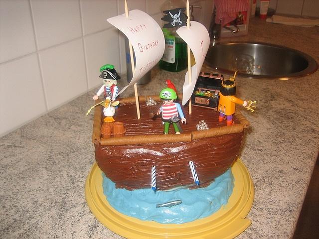 Playmobil Birthday Pirate Ship Cake
