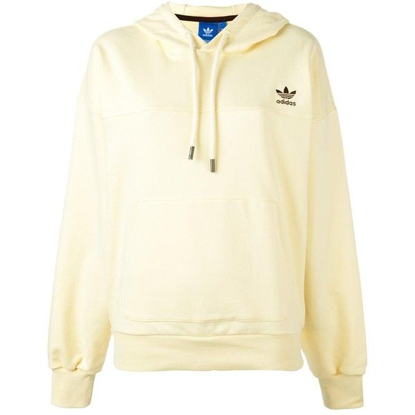 Adidas logo embroidered hoodie ($75) ❤ liked on Polyvore featuring tops, hoodies, patterned hoodies, print hoodie, sweatshirt hoodies, long sleeve tops and pattern hoodie