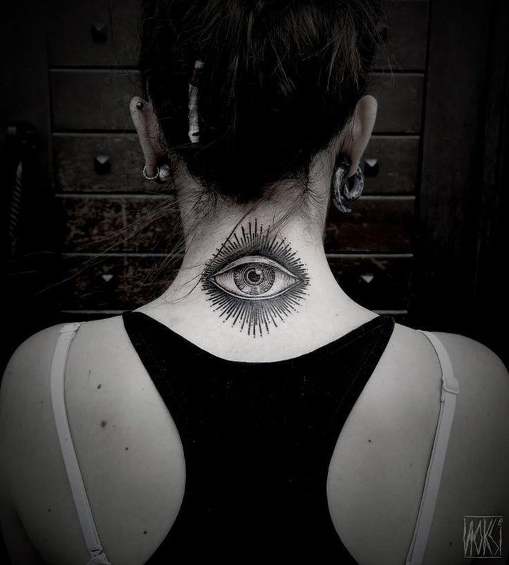 http://tattooideas247.com/eye-neck/ Eye Neck Tattoo #Blackwork, #Eye, #Neck, #Noksi