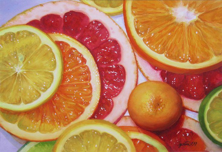 Sliced Citrus w Calamondin - Frank Spino. Watercolor