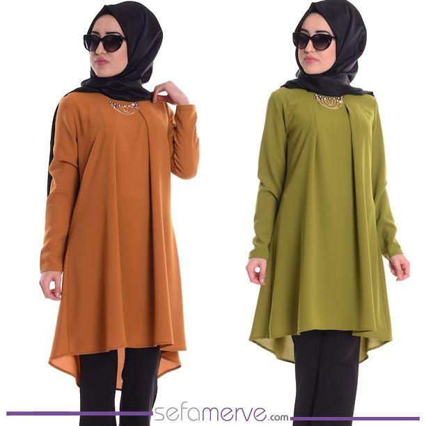 Bugüne Özel BEDAVA KARGO Fırsatıyla... Kolyeli Tunik 0569-03 Yağ Yeşil  #sefamerve #tesetturgiyim #tesettur #hijab #tesettür