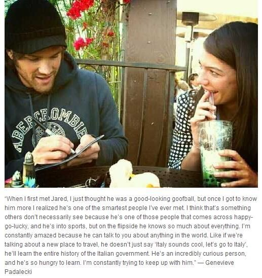 Genevieve quote about Jared -  I just love them.