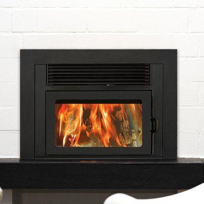 Supreme Fireplaces Inc. Volcano Plus Wall Mount Wood Burning Fireplace Insert Finish: Metallic Black