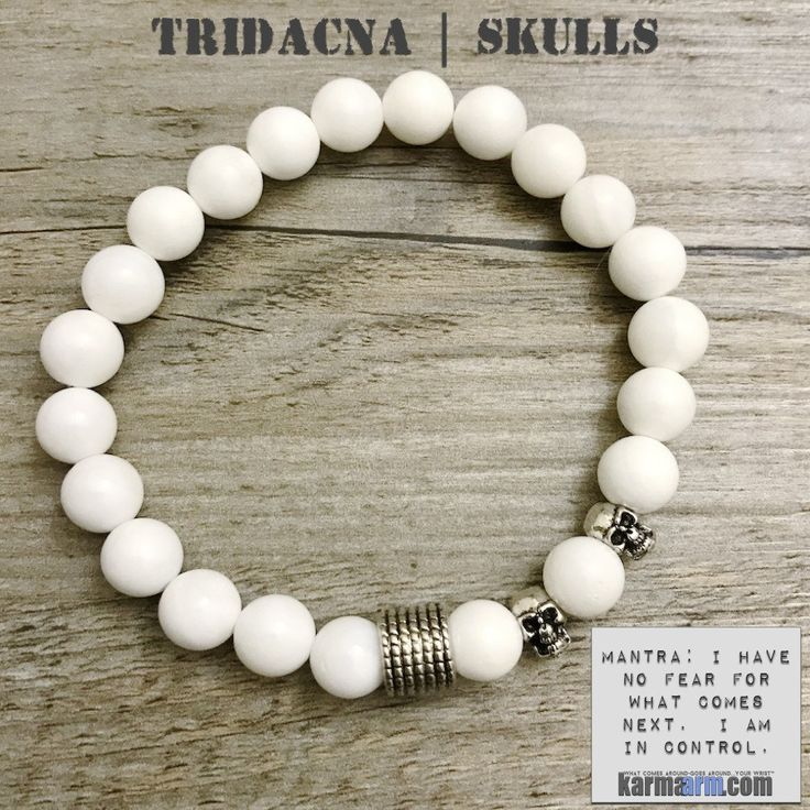 Skulls symbolize protection, strength, power, fearlessness, wisdom and guidance, and surviving through a difficult time.......Tridacna can stabilize mood, eliminate worry, balance mental and physical states & soothe frightened nerves.....Bracelet   Mens Womens   beaded yoga mala charm. karma arm stacks. Skulls Tridacna.