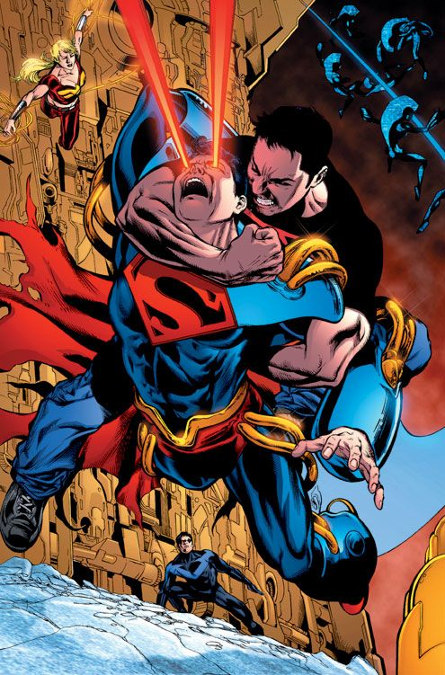 "Connor Kent attempting to restrain Superboy-Prime in DC comics' ""Infinite Crisis"" crossover event"