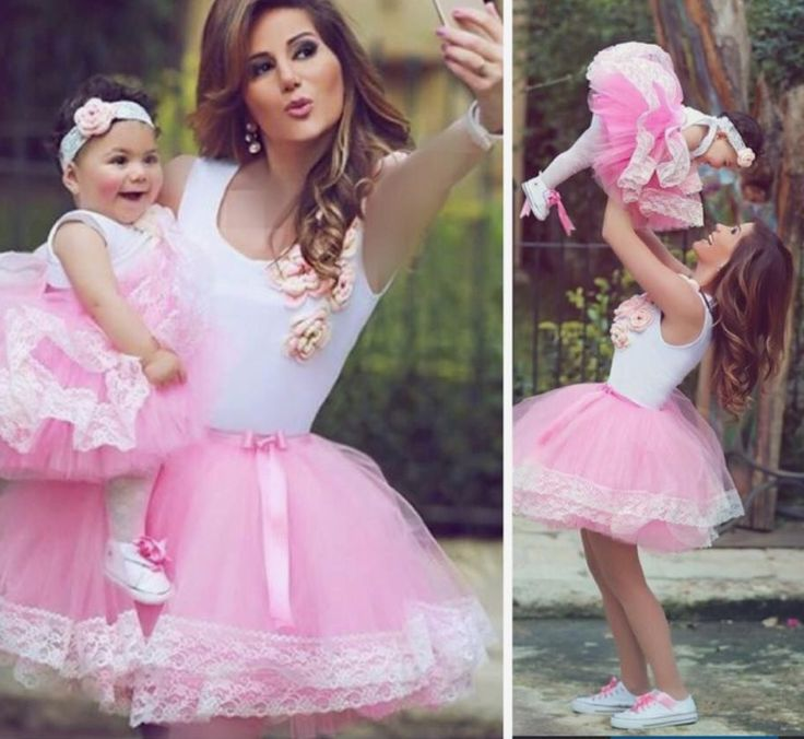 Adorable matching tutu outfit for mother and daughter!converse shoes in white!