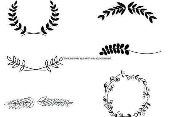 Lauweren digitale stempel lauwerkrans Clip Art door HollyMcCaig