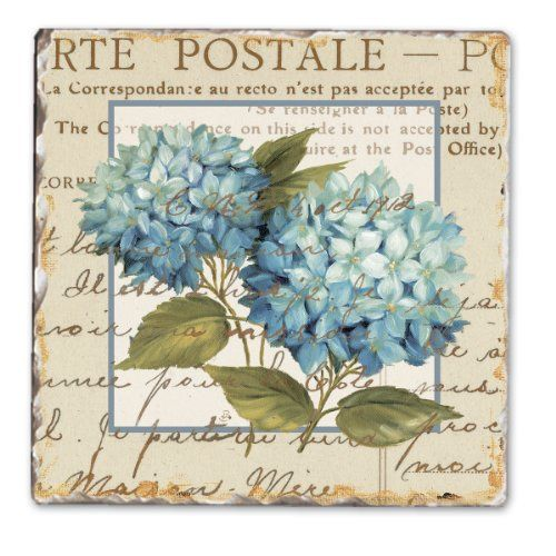 CounterArt Blue Hydrangeas Tumbled Tile Coasters, Set of 4 CounterArt