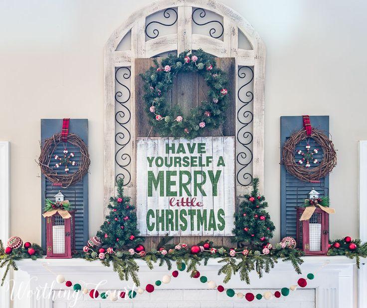 Farmhouse Christmas mantel || Worthing Court