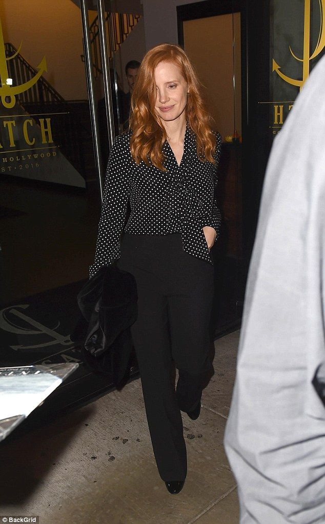 Style Queen: Actress Jessica Chastain, 40, rocked a chic ensemble on Sunday as she enjoyed a slap-up meal in West Hollywood with her husband