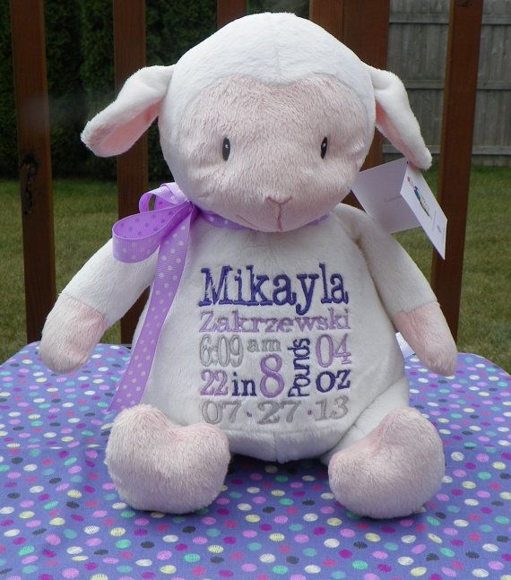 Personalized baby gift personalized stuffed animal monogrammed personalized baby gift personalized stuffed animal monogrammed lamb embroidered birth announcement by sewbiz embroidery too lambs babies and birth negle Images