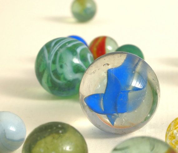 Vintage Glass Marbles,    Traditional Toy,   Mixed Sizes,  Clear and Opaque,  Cats Eyes
