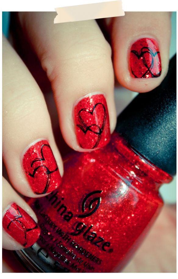 """Valentine's Day nails using China Glaze """"Ring in the Red"""" - cute!"""