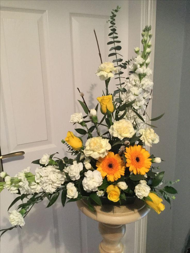 Spring arrangement with gerbera, stock, carnations,roses and eucalyptus.