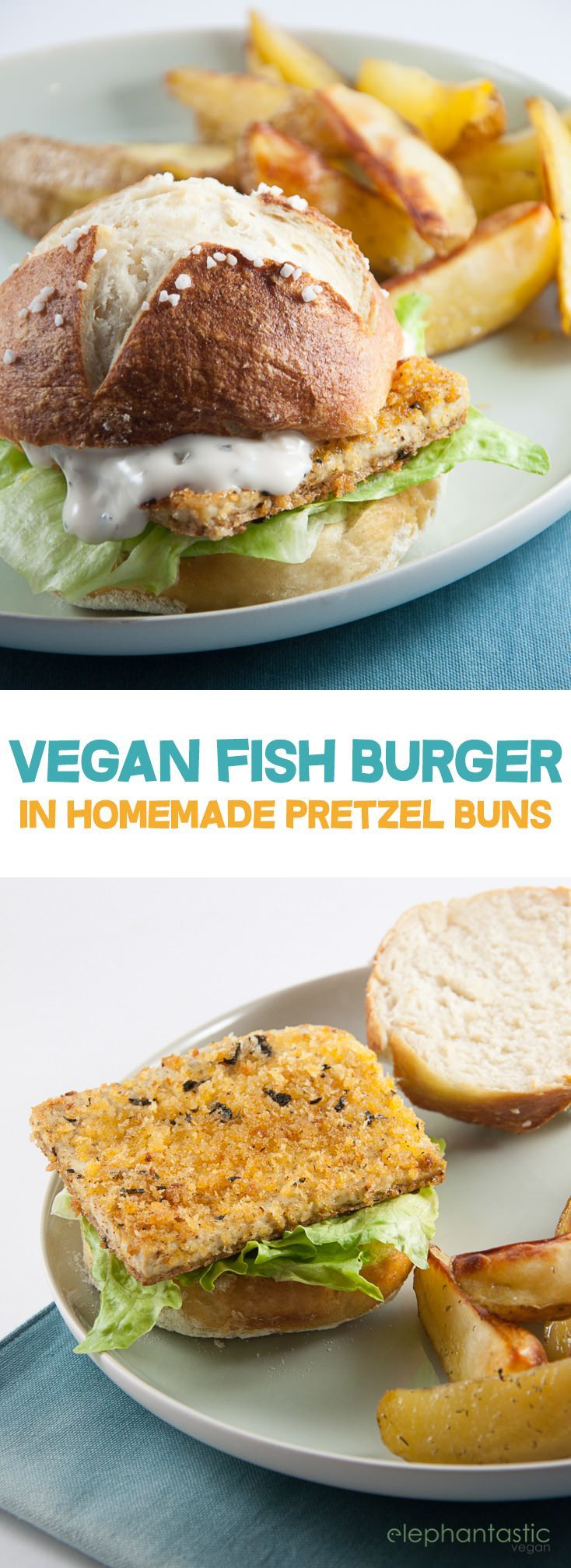Vegan Fish Burger with homemade Pretzel Rolls | http://ElephantasticVegan.com