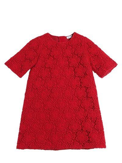 DOLCE  GABBANA - FLORAL WOOL MACRAMÉ  COTTON DRESS