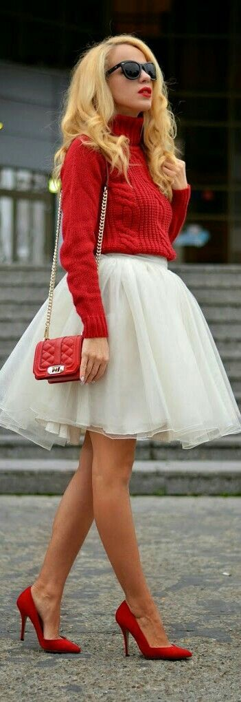 Shop this look on Lookastic:  http://lookastic.com/women/looks/sunglasses-turtleneck-crossbody-bag-full-skirt-pumps/6731  — Black Sunglasses  — Red Knit Turtleneck  — Red Quilted Leather Crossbody Bag  — White Tulle Full Skirt  — Red Suede Pumps