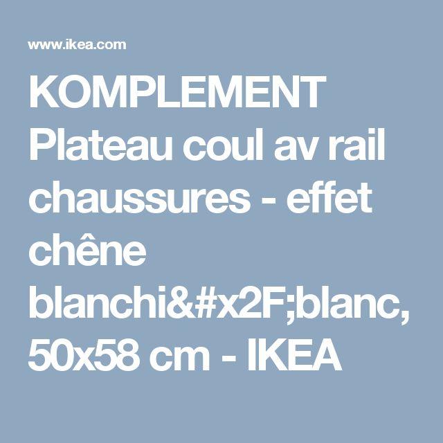 KOMPLEMENT Plateau coul av rail chaussures - effet chêne blanchi/blanc, 50x58 cm - IKEA
