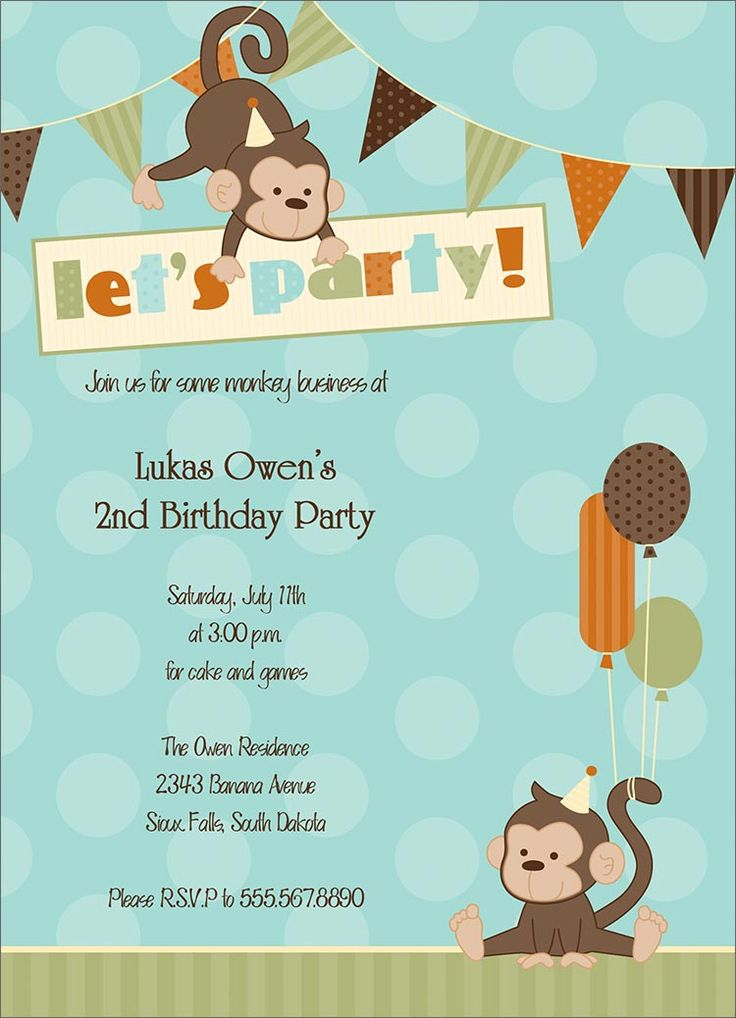 Monkey Themed Birthday Invitations Gallery - coloring pages adult