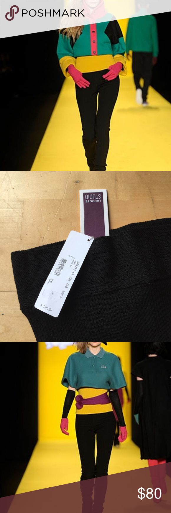 Lacoste studio runway knitted leggings pants New runway knitted leggings. I have only 2 of them. Black and burgundy. No where else . Super cute. Go with any tops, sweaters,dress ,and skirts. Lacoste Pants Leggings