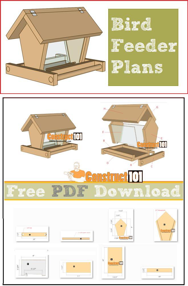 Bird feeder plans, free PDF download, cutting list, and shopping list.