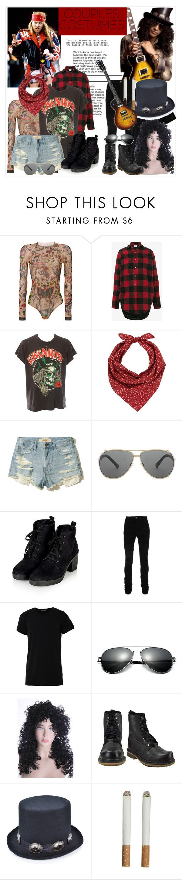"""""""Axl Rose & Slash Couples Costumes"""" by larinhacarter ❤ liked on Polyvore featuring Dsquared2, Vetements, MadeWorn, Barneys New York, Hollister Co., Christian Dior, AMIRI, Numero00, Dr. Martens and couplescostumes"""