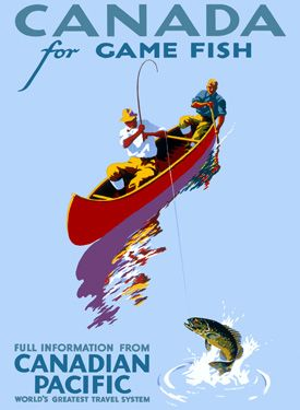 Canadian Pacific Game Fishing Trout Canada Poster Vintage Fine Art Giclee Print