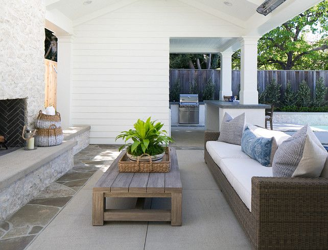 Patio Furniture Layout. Patio furniture layout ideas. The patio furniture is set in front of the outdoor fireplace. #PatioFurniture #Layout #PatioFurnitureLayout  William Guidero Planning and Design.