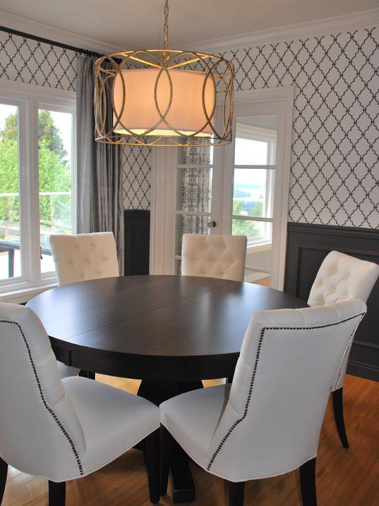 Contemporary Dining Room With Round Espresso Pedestal