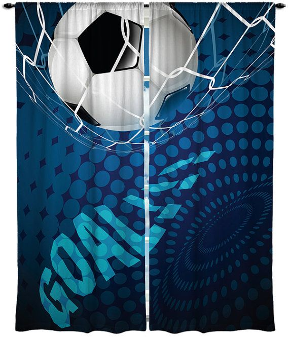 Custom Window Curtain Soccer Goal Options Shown In By Redbeauty CurtainsBoy RoomsKids
