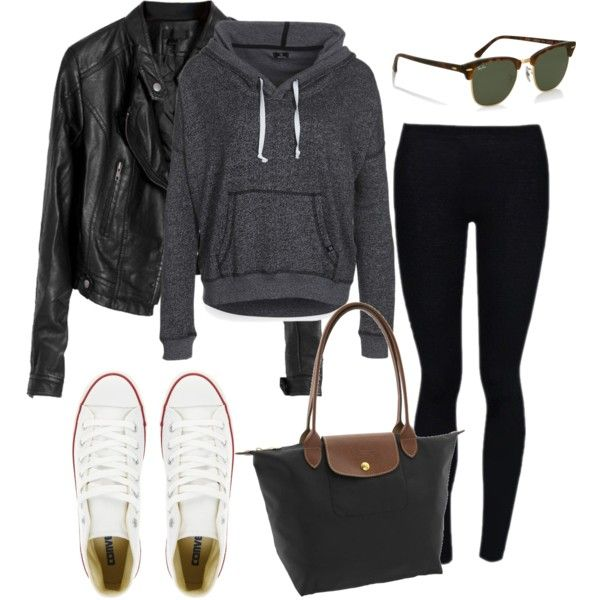 for a long flight :) by oliviaquan22 on Polyvore featuring DC Shoes, Converse, Longchamp, Henri Bendel, warm, travel, school, spring, comfy and flight