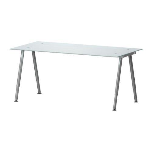 GALANT Scrivania - vetro bianco, gamba a T, color argento - IKEA