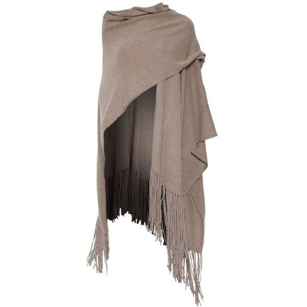 360 Sweater Pure Cashmere Women's Fringe Long Wrap Cardi Beige (One... (£355) ❤ liked on Polyvore featuring tops, cardigans, fringe, long cardigan, cardigan top, beige cardigan, brown tops and wrap top