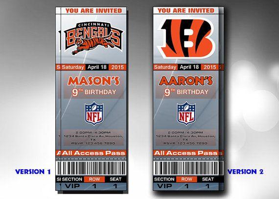Cincinnati Bengals Invitation, Cincinnati Bengals Birthday Invitations, Tickets Party Printables, Football Ticket Cincinnati Bengals