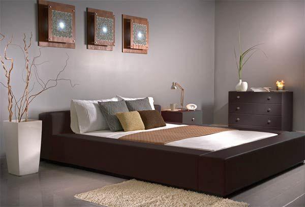 Amazing Dark Wood Bedroom Furniture Gray Wall Marble Floor Design