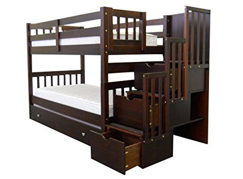 Bedz King Tall Stairway Bunk Bed Twin Over