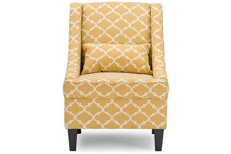 Lotus Fabric Armchair - Yellow Patterned Fabric