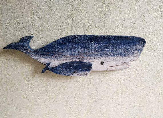 Wood Whale Wall Art Decor Wooden Whale Nautical Decor Whale Etsy