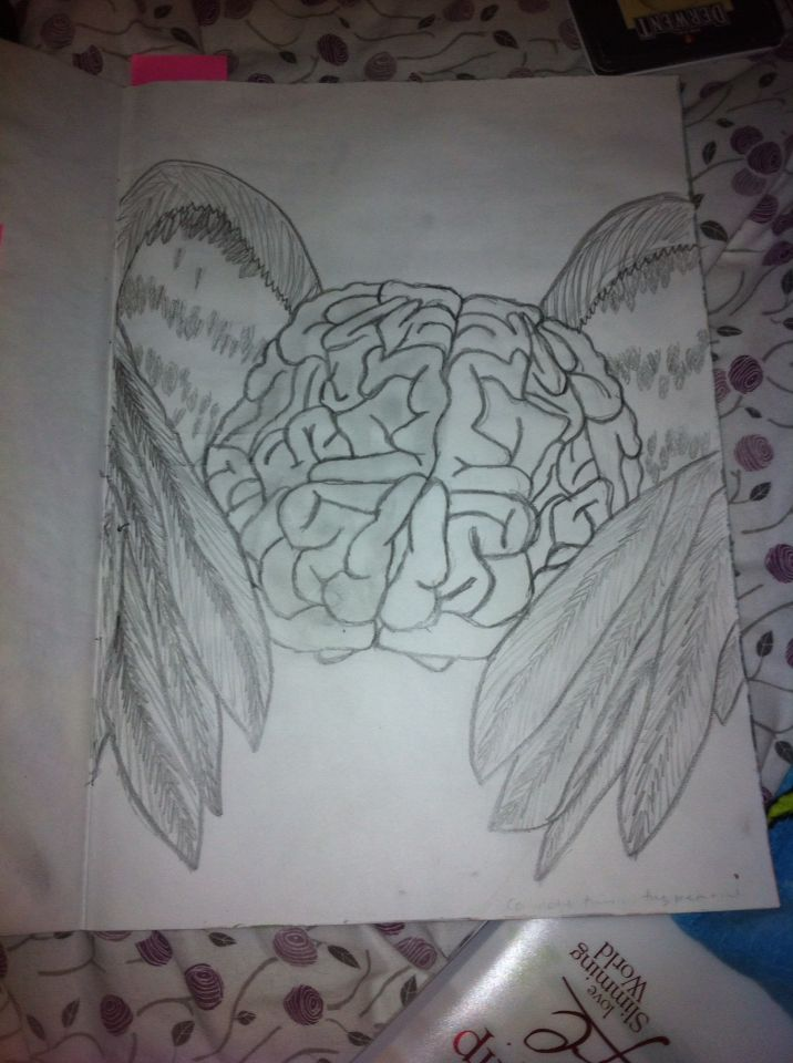 A winged brain. I took the ins pertain for it off of an image I found on google. The original image had the caption 'free thought'- by L.A.Laws