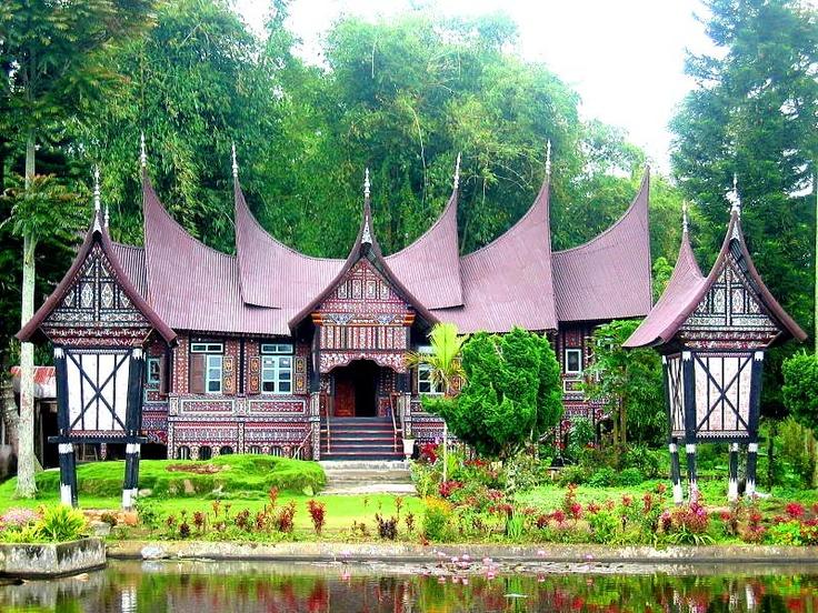 rumah gadang — a traditional house. in Minangkabau in Sumatra