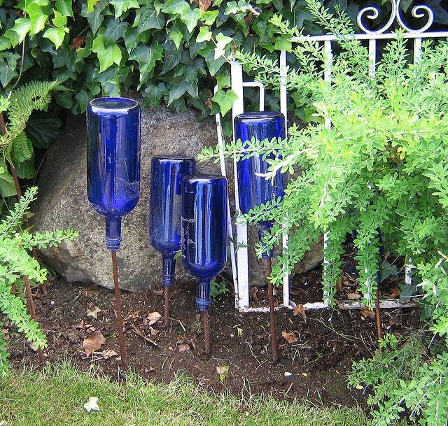 1000 images about bottle tree 39 s just love them on for Outdoor decorating with wine bottles