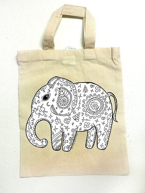 Shopper mini per bambini elefante ecologica eco bio natura cotone beige stampa animale borsetta borsa della spesa fruttivendolo bambina