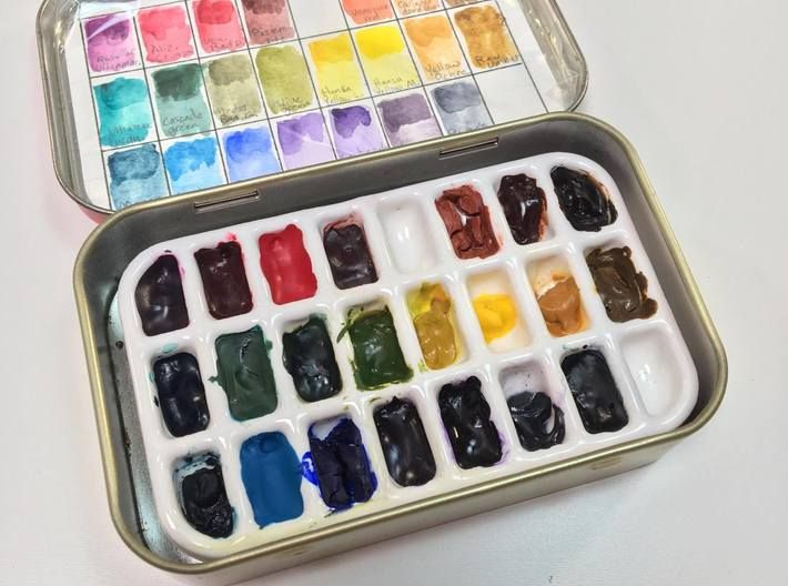 Travel Sized Porcelain Watercolor Palette 3d Printed Watercolor