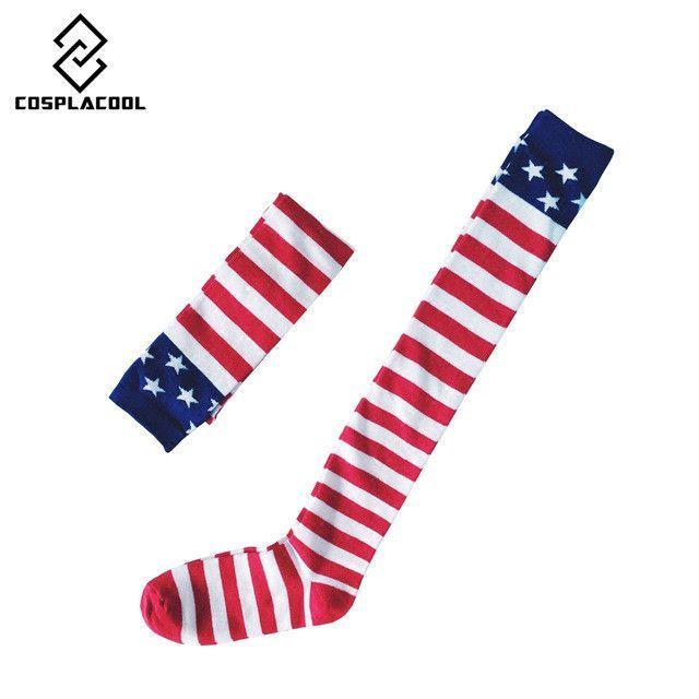 [COSPLACOOL] New stripe pentagram high long tube knee socks American flag pattern hip-hop socks chaussette meias feminin