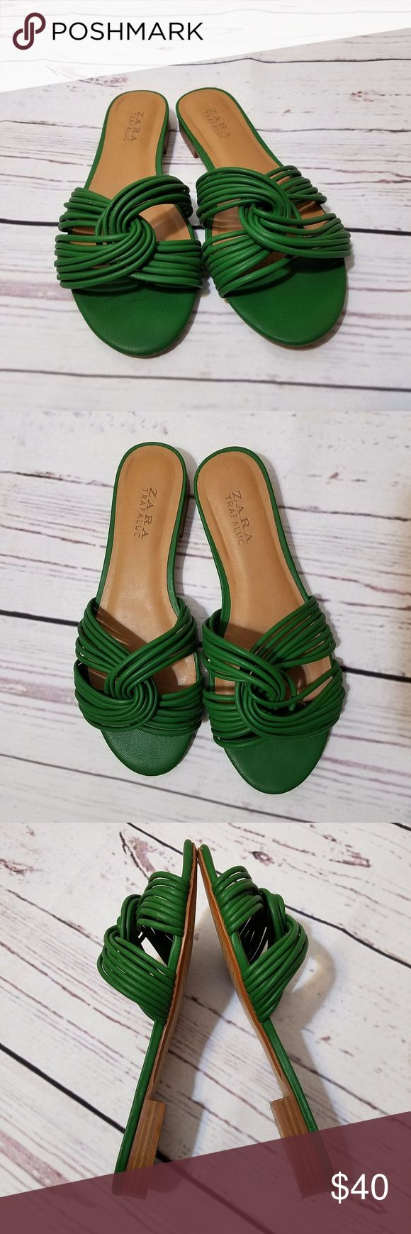 Zara Green Strappy Flat Mules Very good pre-owned condition. The tops of these mules are perfect, the soles have just a little wear as shown in the pictures. The front of the right shoe has a small nick, but no other damages. Size 38 but according to Zara sizing it is a 7.5 rather than an 8. Zara Shoes Mules & Clogs