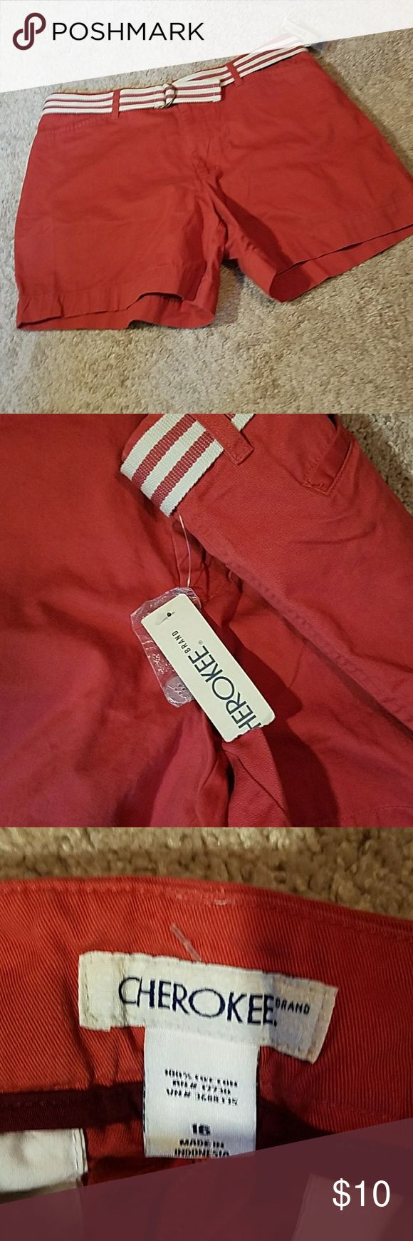 Cherokee brand  Coral shorts size 16 100% cotton Cherokee brand  Coral shorts size 16 100% cotton . In excellent NEW condition NET. Belt is included. Cherokee Shorts